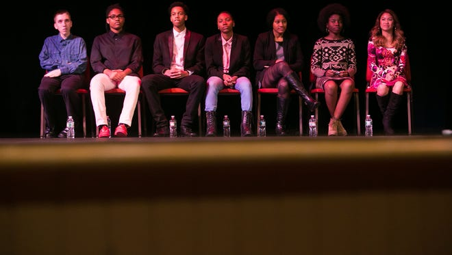 Seven finalists (from left) Josh Rittberg, Kaamilah Diabate, Julian Brown, Demetria Anthony, Mya Knox-St. Paul, Destiny Cheeks and Grace Otley prepare to present their message at the Baby Grand in Wilmington for the 2016 Dr. Martin Luther King, Jr. Communication Contest: An Opportunity for Youth to Be Heard.