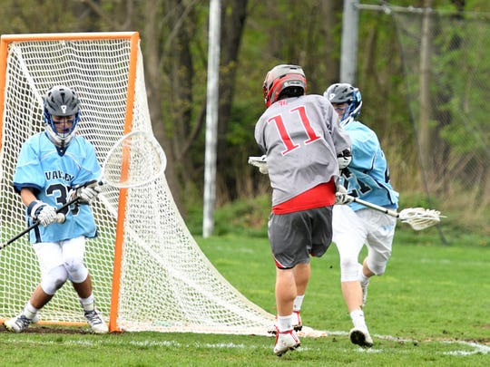 Michael Wilson (11) and the top-seeded Lakeland boys' lacrosse team were eliminated from the annual Passaic County Tournament after falling to DePaul in Monday's opening round.