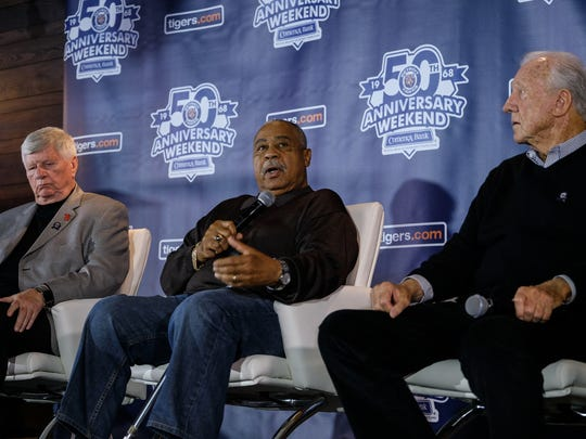 (Left to right) 1968 Detroit Tigers World Series champions Jim Price, Willie Horton and Al Kaline talk about their experiences at the MotorCity Casino Hotel Tiger Club in Comerica Park on Monday, April 16, 2018.