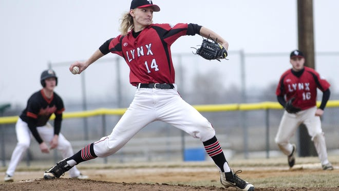 Dylan Kirkeby of Brandon Valley throws a pitch Thursday, April 12, in the first game of a doubleheader against Sioux Falls Washington at Valley Springs.