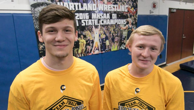 Hartland juniors River Shettler, left, and Kyle Kantola were chosen co-Wrestlers of the Year in Livingston County after each placed second in the state tournament.