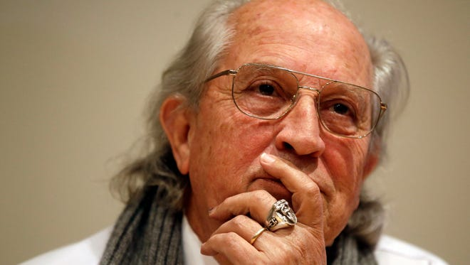 Three-times Oscar winning cinematographer Vittorio Storaro, listens to a journalist's question in Rome, Friday, April 17, 2015. Storaro designed the new illumination system of the Roman Forum that will be unveiled on April 21, during the anniversary of Rome's foundation. (AP Photo/Gregorio Borgia)