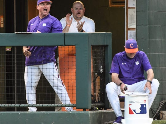 Clemson head coach Monte Lee (17) reacts after sophomore pitcher Jake Higginbotham(24) got the third out with a strikeout to end the top of the fourth inning on Monday at Doug Kingsmore Stadium in Clemson.