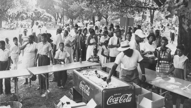 Company picnics, church picnics, and family reunions were a part of summertime activities at Montgomery Hall Park.