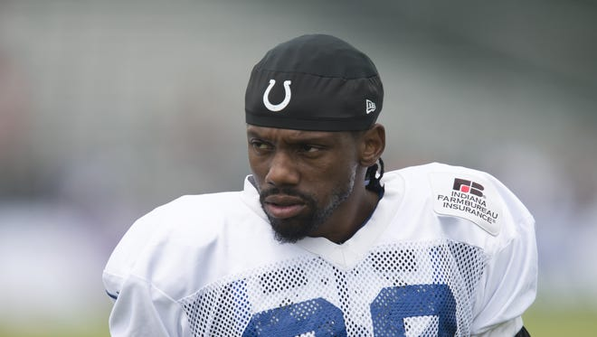 Indianapolis Colts cornerback Greg Toler (28) at Colts training camp, Anderson, Sunday, August 9, 2015.