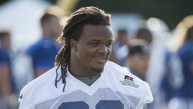 Curt Maggitt, outside linebacker, Colts training camp, from Anderson University, Anderson, Tuesday, August 2, 2016.