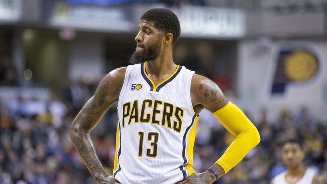 Paul George of Indiana, San Antonio Spurs at Indiana Pacers, Bankers Life Fieldhouse, Indianapolis, Monday, February 13, 2017. San Antonio won 110-106.