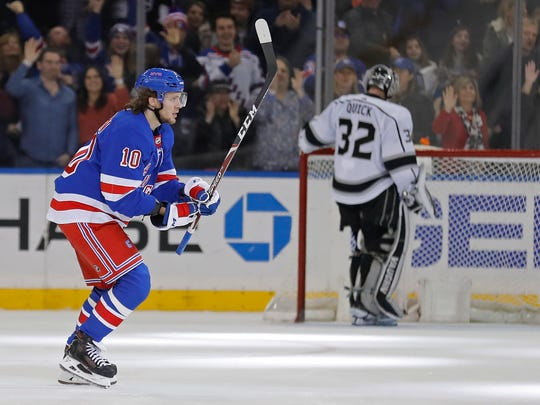 New York Rangers left wing Artemi Panarin (10) skates to his bench after scoring a goal past Los Angeles Kings goaltender Jonathan Quick (32) in the third period of an NHL hockey game Sunday, Feb. 9, 2020, in New York. The Rangers won 4-1. (AP Photo/Adam Hunger)