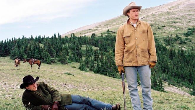 "Jake Gyllenhaal, left, and Heath Ledger appear in a scene from ""Brokeback Mountain."""