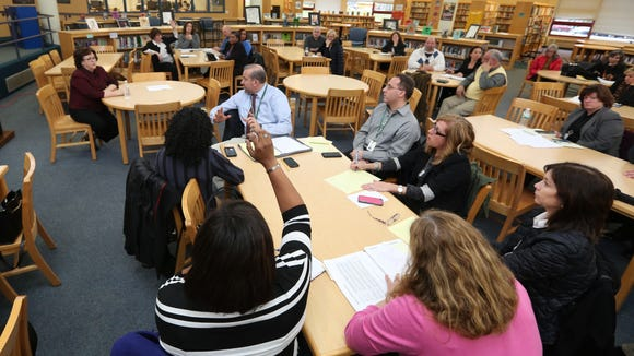New York State Commissioner of Education MaryEllen Elia meets with area teachers at White Plains High School March 14, 2016. Elia is warning schools about a looming teacher shortage.