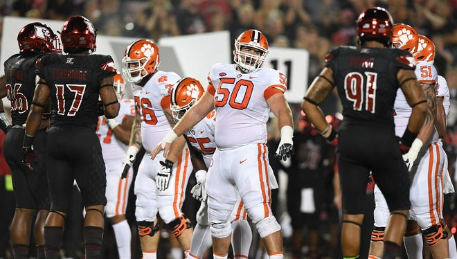 Clemson center Justin Falcinelli (50) plays against Louisville during the 2nd quarter on Saturday, September 16, 2017 at Louisville's Papa John's Cardinal Stadium.