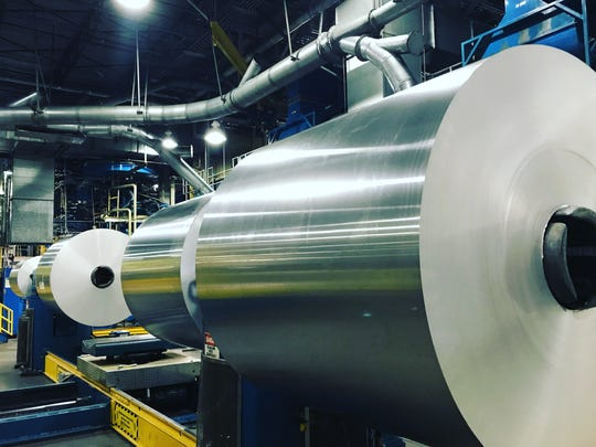 A 27,000-pound aluminum coil at the Anheuser-Busch Metal Container Corp. in Windsor. The plant typically goes through one coil every 7 hours.