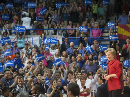 Presidential candidate Hillary Clinton speaks at Carl