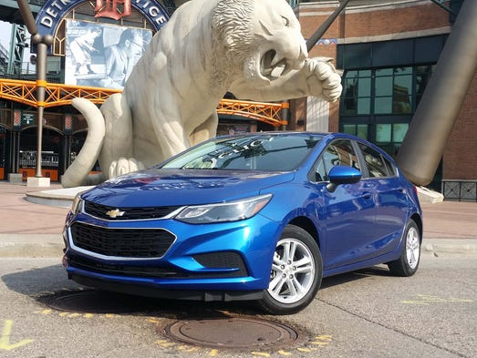 At Comerica Park, the Chevy Cruze hatchback shows off