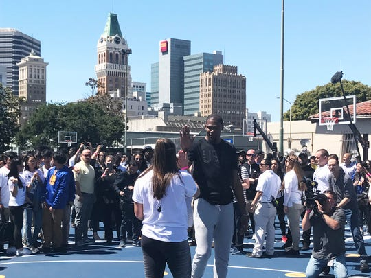 Kevin Durant unveiling four newly refurbished basketball