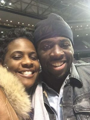 Warriors player Draymond Green and mom, Mary Babers-Green, share a light-hearted moment. She has enjoyed most of the rise of her son — a former Michigan State star — from her couch in Saginaw.