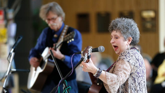 Jane Voss and Hoyle Osborne, shown here performing June 13 during the Summer Terrance Music Series at the Farmington Museum at Gateway Park, will deliver a Chautauqua at the museum this weekend.