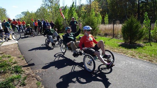 Adaptive biking along the Blackstone bikeway in Blackstone.