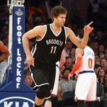 Brooklyn Nets center Brook Lopez reacts against the