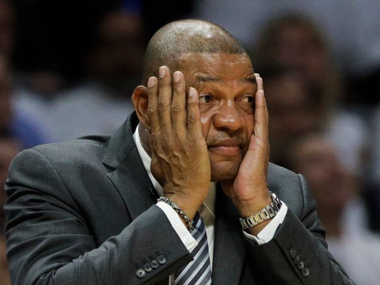 Los Angeles Clippers coach Doc Rivers reacts to a play during the second half in Game 2 of the team's NBA basketball first-round playoff series against the Utah Jazz on Tuesday, April 18, 2017, in Los Angeles. The Clippers won 99-91. (AP Photo/Jae C. Hong)