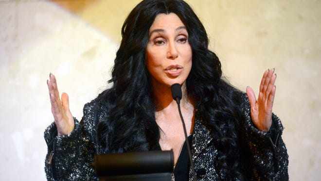 Cher holds a rally for Hillary Clinton Monday, Oct. 31, 2016 at the MSU Union on the campus of Michigan State University in East Lansing.