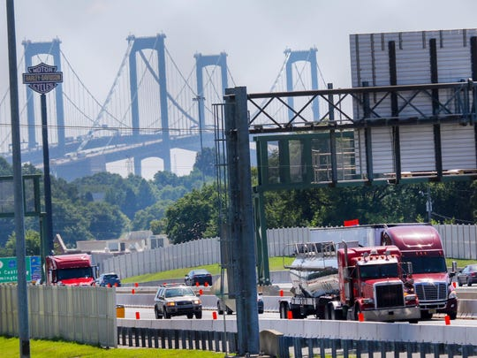 Large trucks travel into Delaware after crossing the