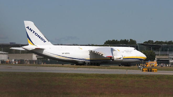 An Antonov An-124 cargo jet arrived at T.F. Green Airport on Sunday afternoon to transport the vessel to New Zealand.