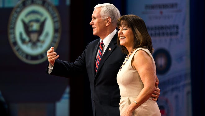 US Vice President Mike Pence greets Second Lady Karen Pence before speaking at the 45th annual Conservative Political Action Conference (CPAC) at the Gaylord National Resort & Convention Center in National Harbor, Maryland, USA, 22 February 2018.