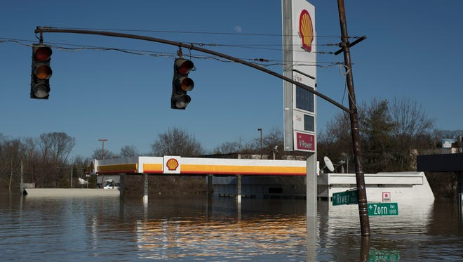 The flooded Shell Station at the intersection of Zorn Avenue and River Road in Louisville, Kentucky after weekend flooding led to the highest point for the Ohio River's waters Monday. Feb. 26, 2018