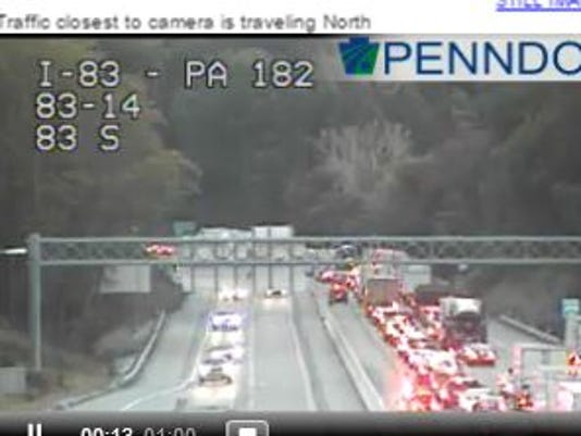 Traffic was backed up on Interstate 83 Tuesday afternoon for a car crash.
