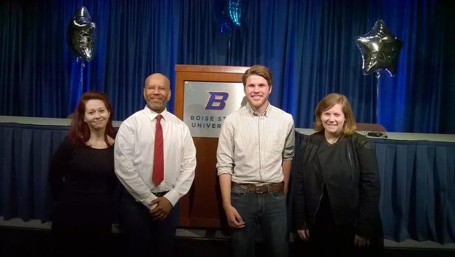 Erika Hill (left), David Tillmon, Jakob Volcheck and Hannah Morris at the 2015 International Public Debate Association Championship Tournament hosted by Boise State University.