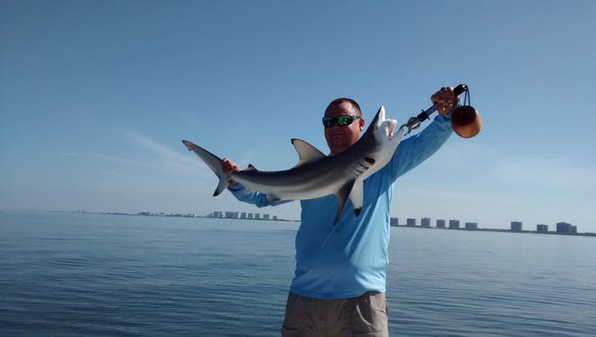 Chris Goggin caught this black tip shark on Capt. John Brossard's Shark Chaser boat near Doctors Pass during Freedom Waters Foundation  Veterans Fishing Outing.