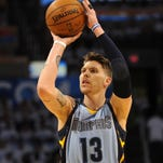 Apr 29, 2014; Oklahoma City, OK, USA; Memphis Grizzlies forward Mike Miller (13) shoots the ball against the Oklahoma City Thunder in game five of the first round of the 2014 NBA Playoffs at Chesapeake Energy Arena. Mandatory Credit: Mark D. Smith-USA TODAY Sports