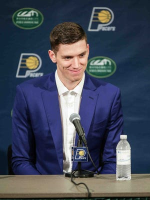 Indiana Pacers draft pick T.J. Leaf answered questions during a news conference friday at Bankers Life Fieldhouse.