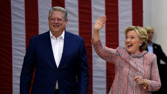 Democrat presidential nominee Hillary Clinton and Former