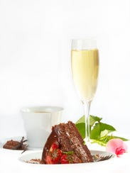 The fifth course includes a brownie, cappuccino and,