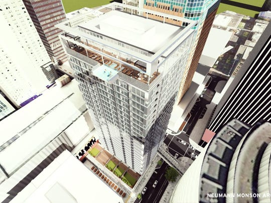 Des Moines developer Blackbird Investments wants to break ground this fall on a 26-story apartment complex at Seventh and Walnut Streets.