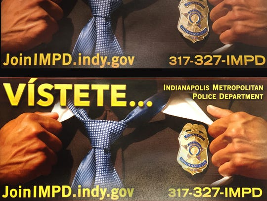 IMPD recruiting posters to encourage minority enlistment.