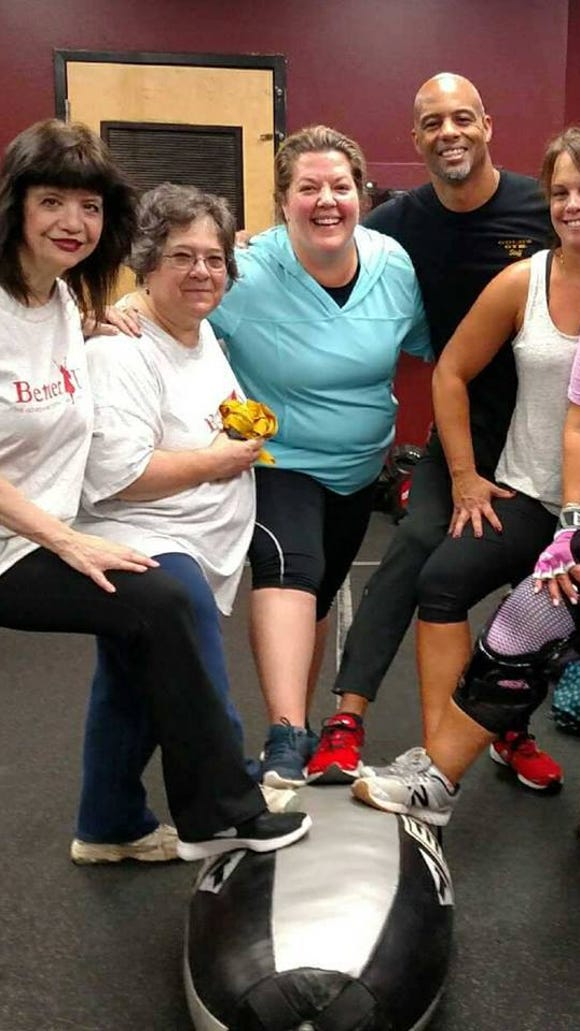 BetterU Challenger, Diane Labenski, second from left, took a boxing class with fellow Challengers and their mentors at Gold's Gym in LaGrange. The team is a great support network throughout this 12-week health challenge.