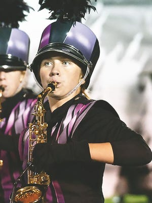 A member of the Pride of the Lake Marching Band.