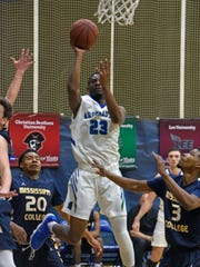 West Florida's Jarrett Henderson goes up for two Sunday, January 7, 2018 during play against Mississippi College at the UWF Fieldhouse.