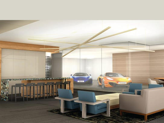 "A rendering of the ""car bar"" concept built into a home"