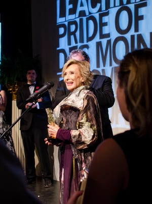 Cloris Leachman taking the stage at the Cloris Awards hosted by the Des Moines Social Club.