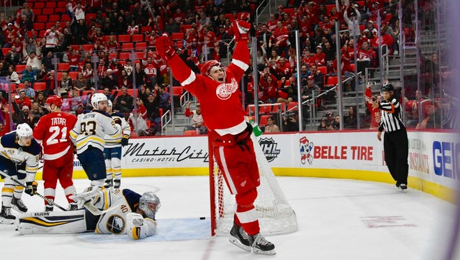 Red Wings' Dylan Larkin celebrates his goal in the third period.