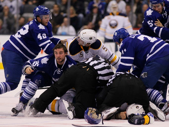 The Toronto Maple Leafs and Buffalo Sabres got into a line brawl on Sunday night that resulted in multiple ejections and possible suspensions.