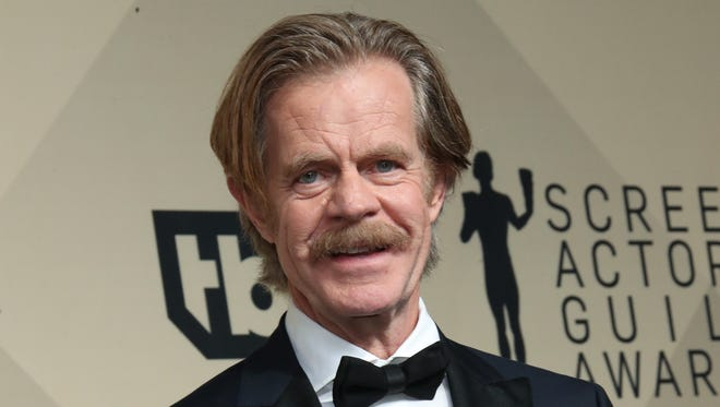 """William H. Macy poses with his outstanding performance by a male actor in a comedy series award for """"'Shameless""""' at the Screen Actors Guild Awards on Jan 21, 2018 in Los Angeles."""