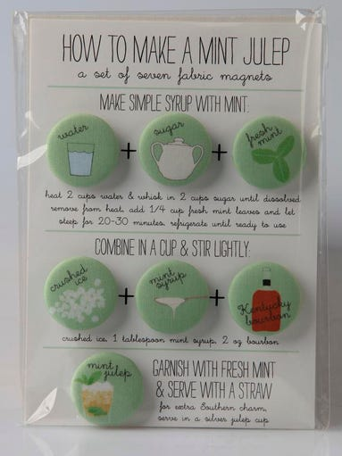 Need help concocting that perfect julep? Try using this set of seven mint julep recipe magnets that give you decorative step-by-step instructions. $12.50 at Urban Farmhouse Market, 2830 Frankfort Ave.