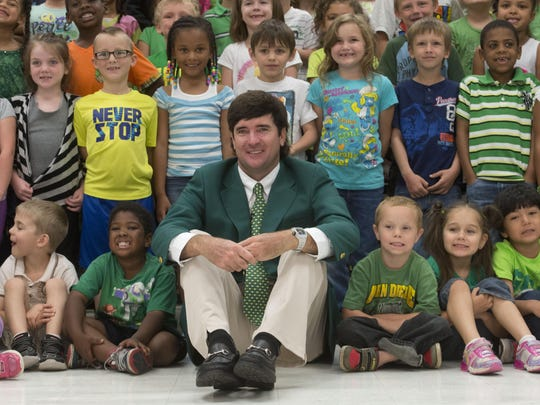 Bubba Watson, shown here visiting with elementary school children in Milton, following his second Masters win, is thrilled to be playing for USA team in the first Olympic Games golf tournament in 112 years.