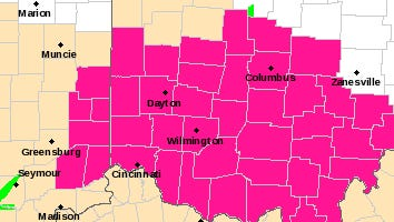 The National Weather Service issued a red flag warning for parts of southwest Ohio and southeast central Indiana Wednesday.