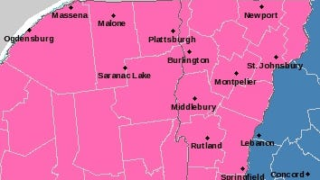 The National Weather Service has Vermont shaded in pink for Sunday and Monday's winter storm warning.